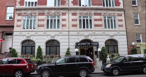 The front entrance of the Washington Square Hotel in Greenwich Village, New York