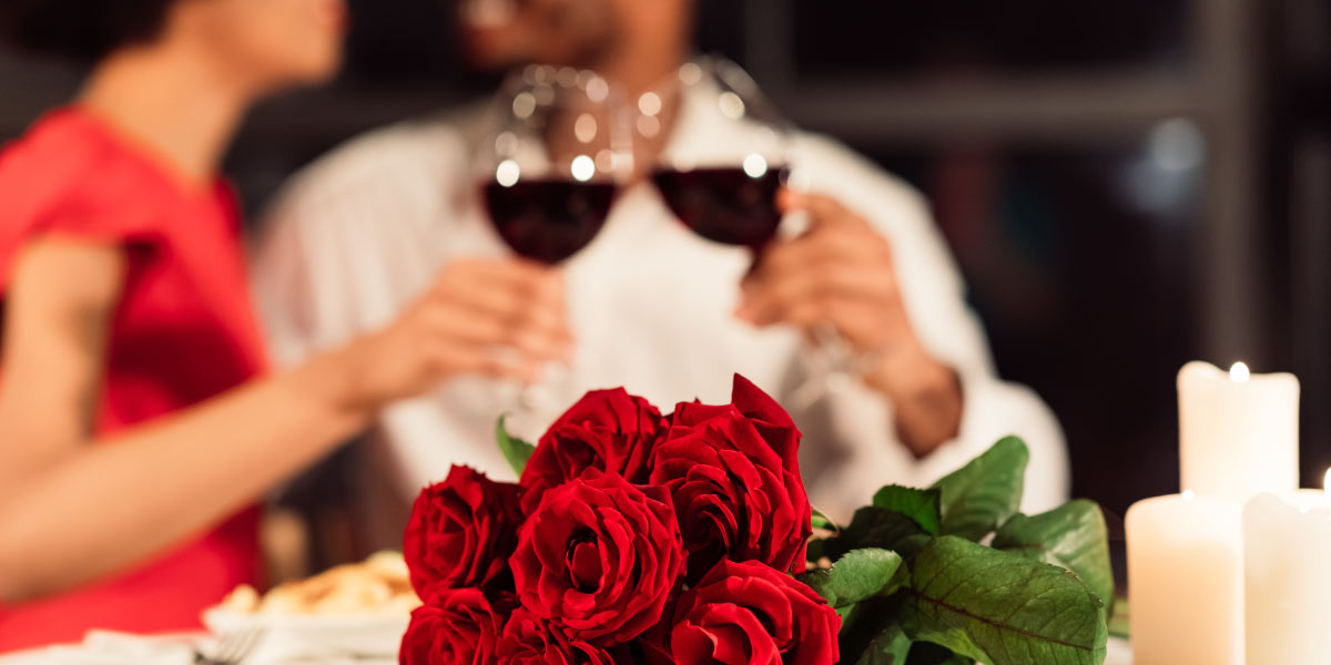 dinner with wine and roses